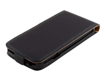 HTC One S Slim Genuine Leather Flip Case - Classic Black