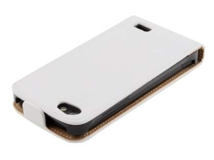 Slim Genuine Leather Flip Case for HTC One V - Pearl White