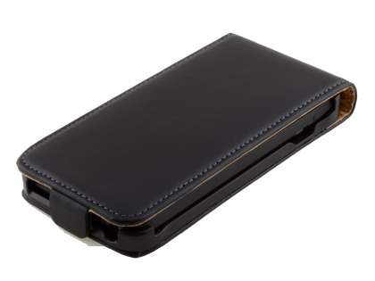 HTC One V Slim Genuine Leather Flip Case - Classic Black