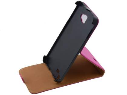 Slim Genuine Leather Flip Case for Samsung I9220 Galaxy Note - Pink