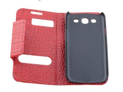 Samsung I9300 Galaxy S3 Synthetic Crocodile Skin leather Wallet Case with Stand - Red