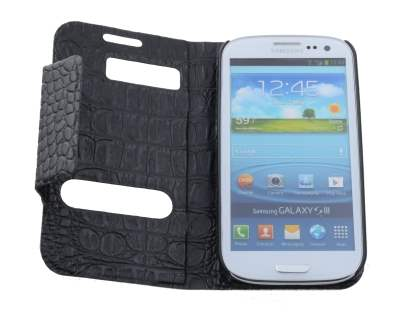 Samsung I9300 Galaxy S3 Synthetic Crocodile Skin leather Wallet Case with Stand - Classic Black