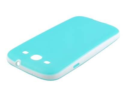 Samsung I9300 Galaxy S3 Dual-Design Case - Turquoise Blue/White