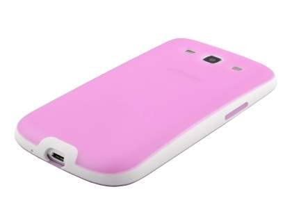 Dual-Design Case for Samsung I9300 Galaxy S3 - Baby Pink/White