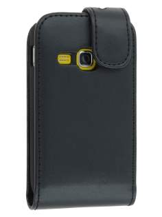 Synthetic Leather Flip Case for Samsung Galaxy mini 2 S6500 - Black Leather Flip Case