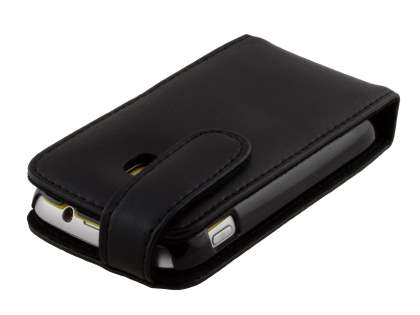 Samsung Galaxy mini 2 S6500 Genuine Leather Flip Case - Classic Black