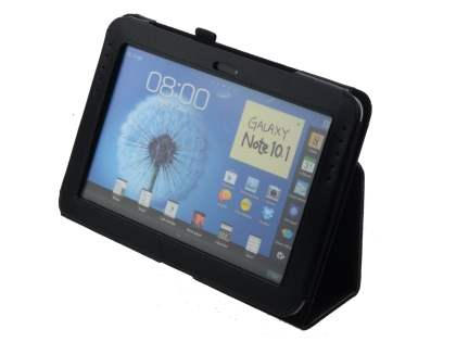 Samsung Galaxy Note 10.1 4G Synthetic Leather Flip Case with Fold-Back Stand - Black