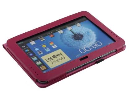 Samsung Galaxy Note 10.1 4G Synthetic Leather Flip Case with Fold-Back Stand - Raspberry
