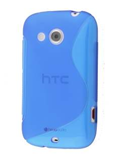Wave Case for HTC Desire C - Frosted Blue/Blue Soft Cover