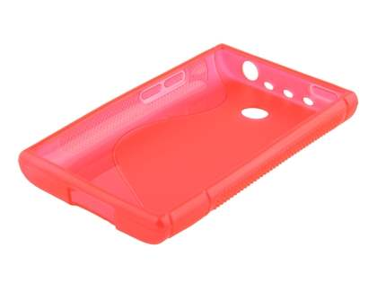 LG Optimus L3 E400 / L2 E405 Wave Case - Frosted Red/Red