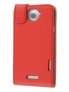 HTC One X / XL / X+ Synthetic Leather Flip Case - Red