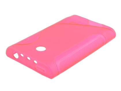 LG Optimus L3 E400 / L2 E405 Wave Case - Frosted Pink/Pink