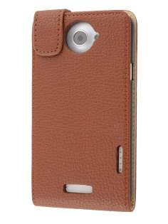HTC One X / XL / X+ Synthetic Leather Flip Case - Brown Leather Flip Case