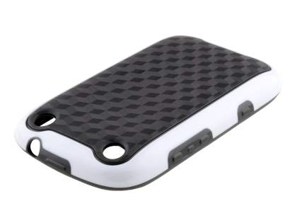 3D Design Protective Case for BlackBerry Curve 9320 - White/Black Soft Cover