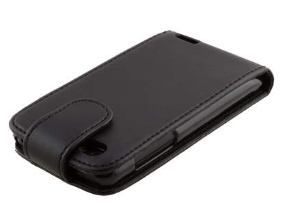 HTC One V Synthetic Leather Flip Case - Black