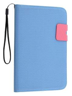 Slim Wallet Case with Stand for Samsung Galaxy Tab 2 7.0 - Blue/Pink Leather Flip Case