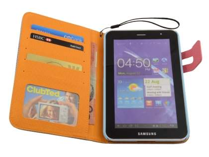 Samsung Galaxy Tab 2 7.0 Slim Wallet Case with Stand - Blue/Pink