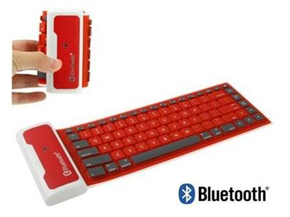 Bluetooth Wireless Rollup Portable Keyboard for Apple - Red