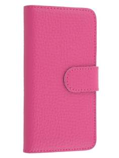 Genuine Textured Leather Wallet Case for iPhone SE/5s/5 - Amaranth Pink