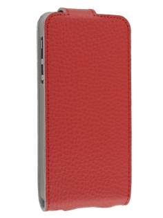 Premium iPhone SE/5s/5 Slim Textured Genuine Leather Flip Case - Cardinal Red