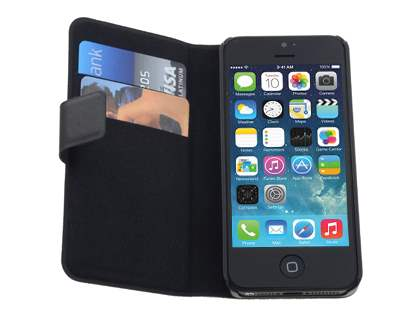 iPhone SE/5s/5 Slim Genuine Leather Portfolio Case with Stand - Classic Black