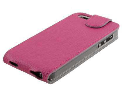 Slim Textured Genuine Leather Flip Case for iPhone SE/5s/5 - Amaranth Pink