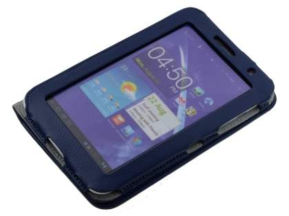 Synthetic Leather Flip Case with Dual-Angle Tilt Stand for Samsung Galaxy 7.0 - Blue