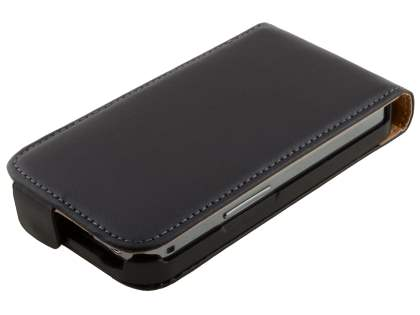 Slim Genuine Leather Flip Case for Samsung S5830 Galaxy Ace - Classic Black