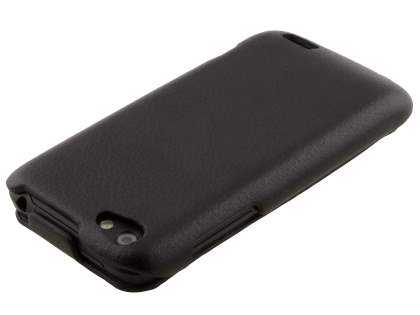 HTC One V Slim Synthetic Leather Flip Case - Classic Black