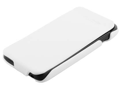 HTC One V Slim Synthetic Leather Flip Case - White