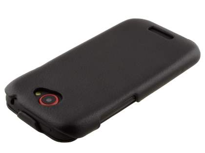 Synthetic Leather Flip Case for HTC One S - Classic Black