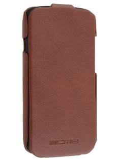 Synthetic Leather Flip Case for HTC One S - Brown
