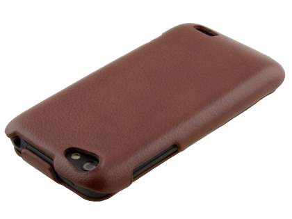 HTC One V Slim Synthetic Leather Flip Case - Brown