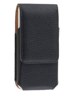 Textured Synthetic Leather Vertical Belt Pouch with Buckle - Naked Mobile Only - Belt Pouch