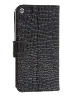 Synthetic Crocodile Skin Leather Portfolio Case with Stand for iPhone SE/5s/5 - Black Leather Wallet Case