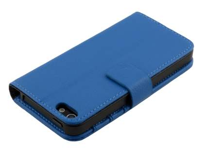 Apple iPhone SE/5s/5 Slim Synthetic Leather Wallet Case with Stand - Blue