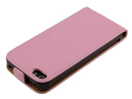 Apple iPhone SE/5s/5 Slim Genuine Leather Flip Case - Baby Pink