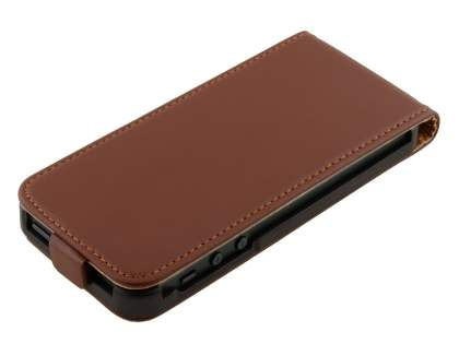 Apple iPhone SE/5s/5 Slim Genuine Leather Flip Case - Brown