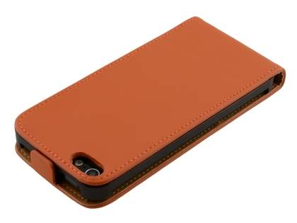 Apple iPhone SE/5s/5 Slim Genuine Leather Flip Case - Orange