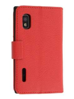 LG Optimus L5 E610 Slim Synthetic Leather Wallet Case with Stand - Red Leather Wallet Case