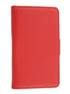 LG Optimus L5 E610 Slim Synthetic Leather Wallet Case with Stand - Red