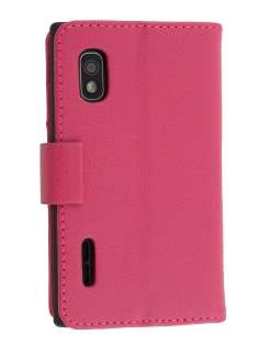 LG Optimus L5 E610 Slim Synthetic Leather Wallet Case with Stand - Pink Leather Wallet Case