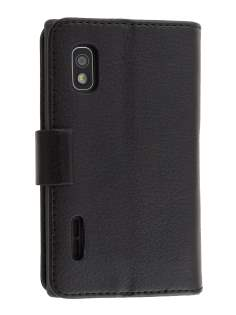 LG Optimus L5 E610 Slim Synthetic Leather Wallet Case with Stand - Black Leather Wallet Case