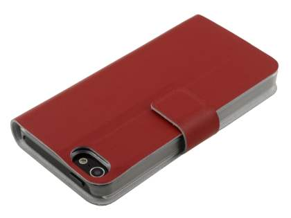 iPhone SE/5s/5 Slim Genuine Leather Portfolio Case with Stand - Red