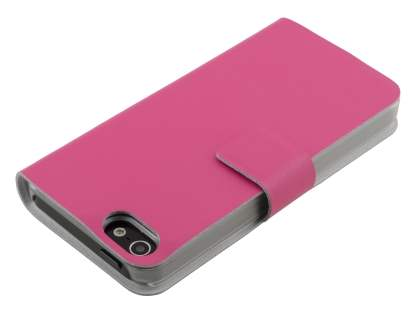 iPhone SE/5s/5 Slim Genuine Leather Portfolio Case with Stand - Hot Pink