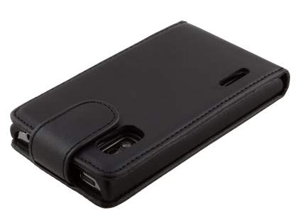 Synthetic Leather Flip Case for LG Optimus L5 E610 - Classic Black