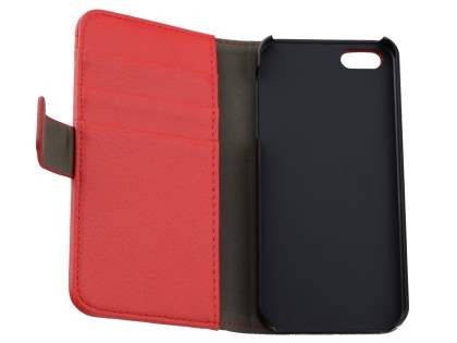 Synthetic Leather Wallet Case with Stand for iPhone SE/5s/5 - Red