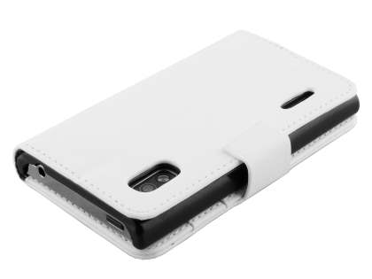 LG Optimus L5 E610 Slim Synthetic Leather Wallet Case with Stand - White