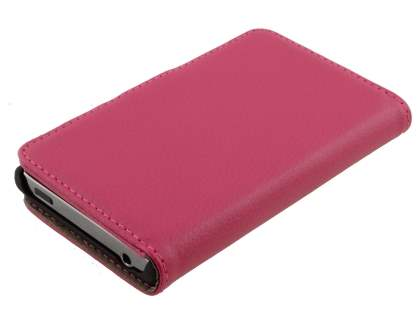LG Optimus L5 E610 Slim Synthetic Leather Wallet Case with Stand - Pink