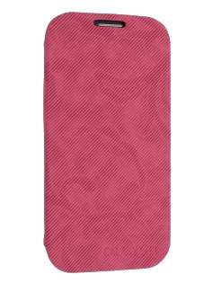 Premium Book-Style Slim Flip Cover for Samsung I9300 Galaxy S3 - Hot Pink Leather Wallet Case